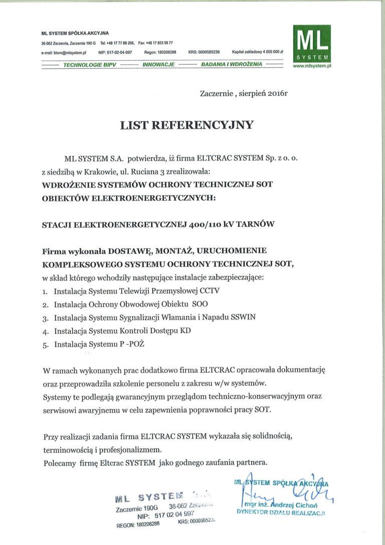 ML system list referencyjny