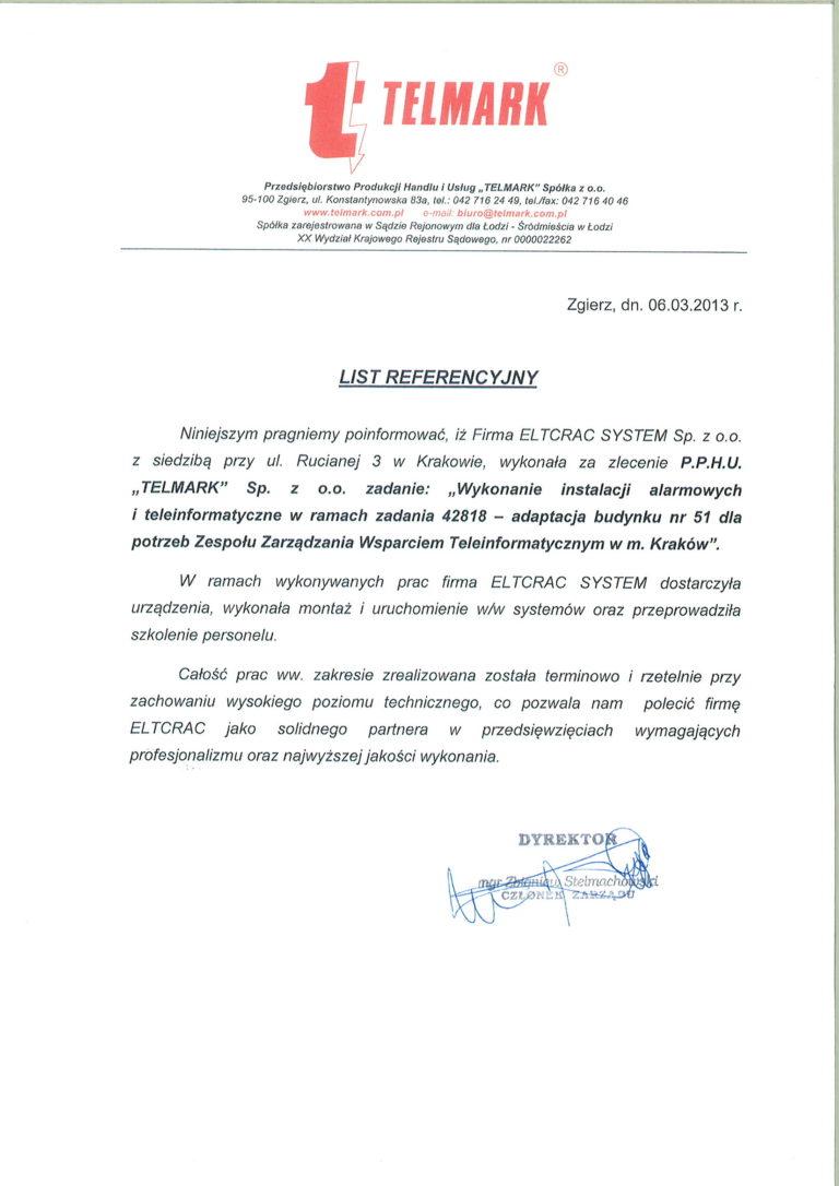 Telmark list referencyjny