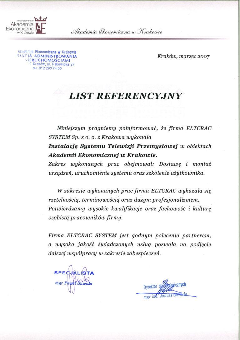 Akademia Ekonomiczna w Krakowie list referencyjny