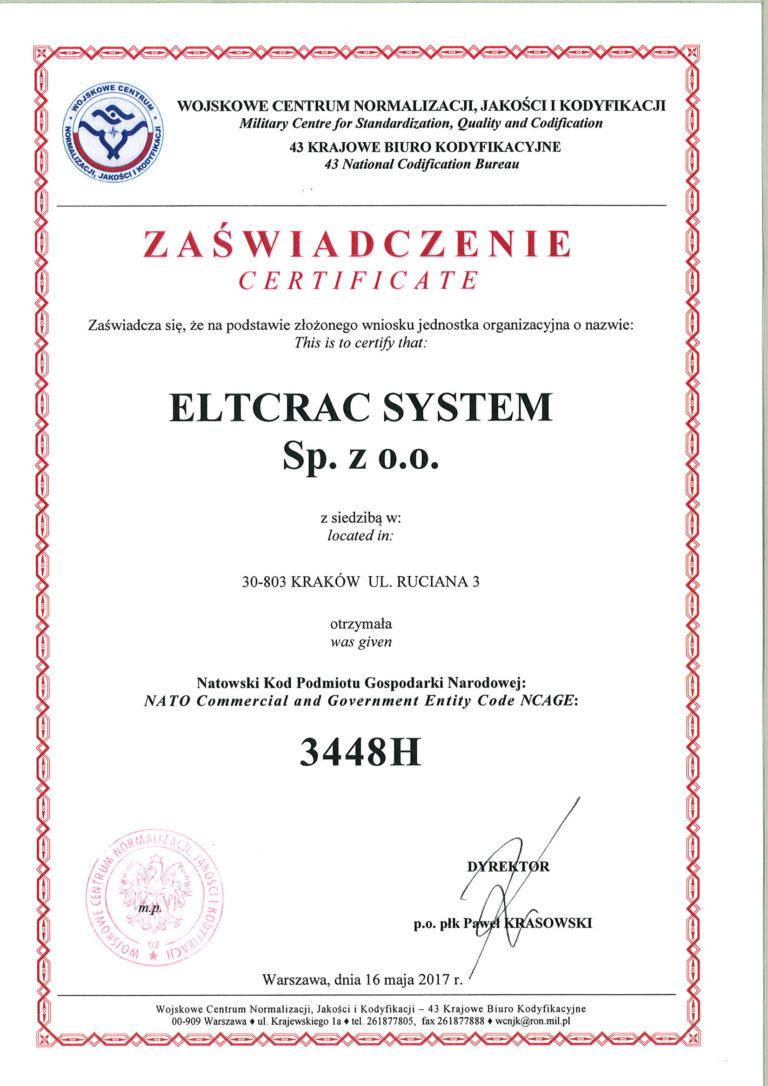 Wojskowe Centrum Normalizacji Jakości i Kodyfikacji certyfikat