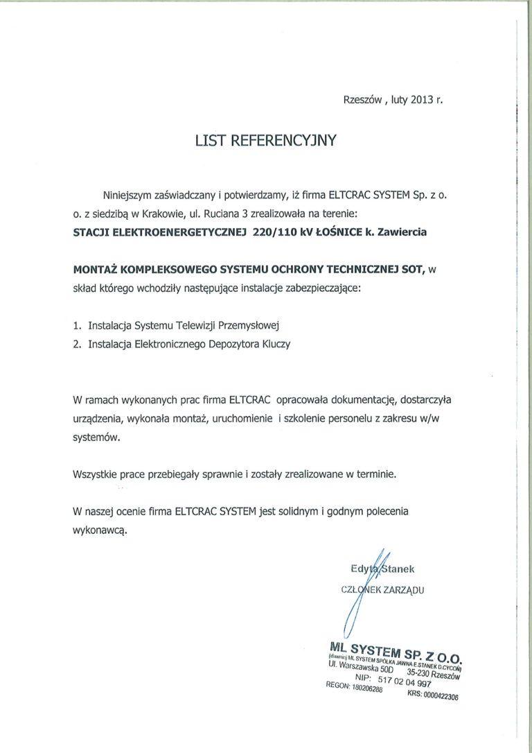 Stacja elektroenergetyczna list referencyjny