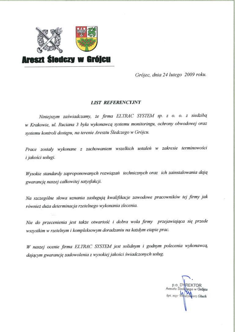Areszt śledczy w Grójcu list referencyjny
